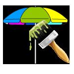 Sonnenschirme grafische Gestaltung und Druck